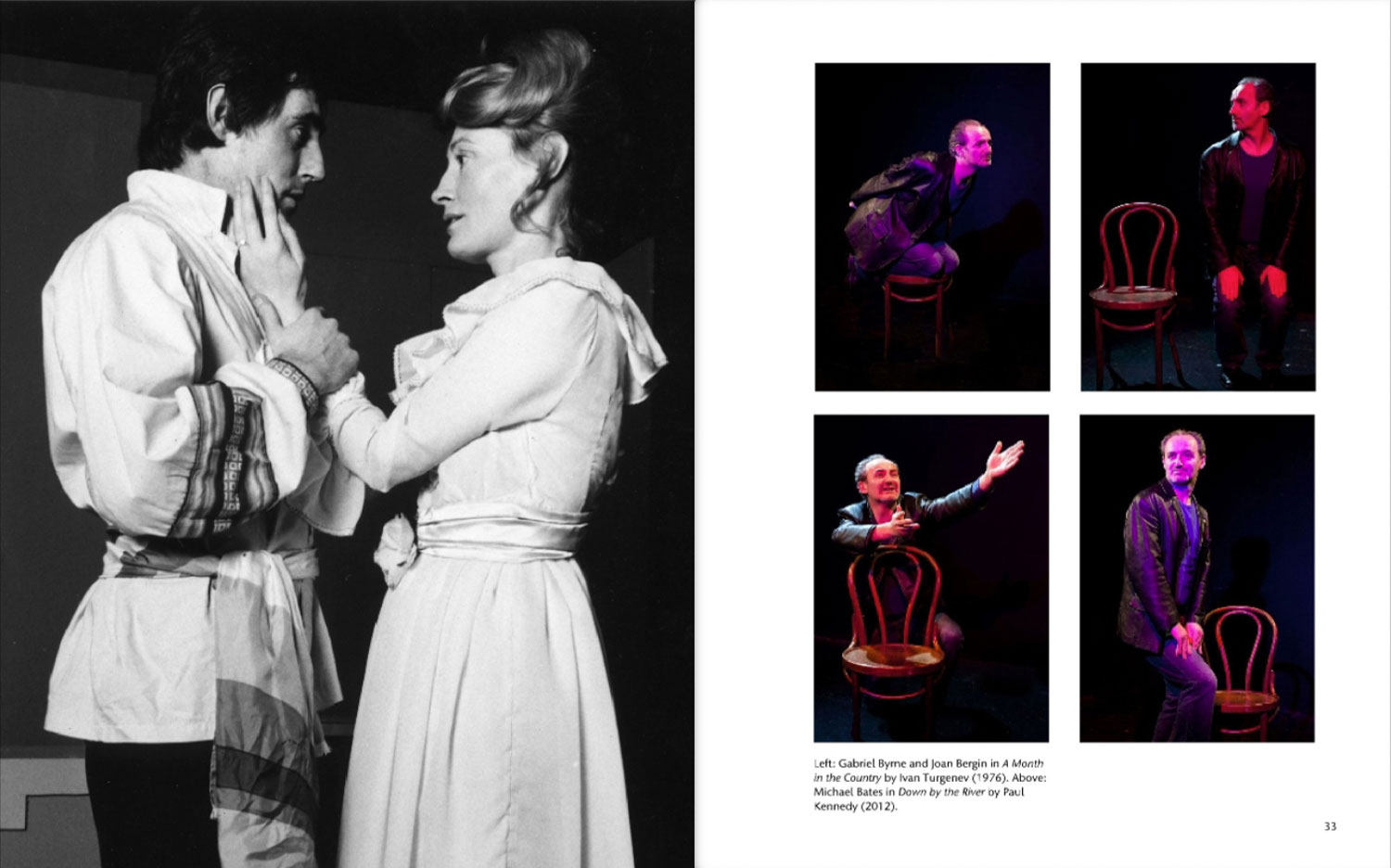 Doublepage layout of theatre archive (review) actors looking emotional