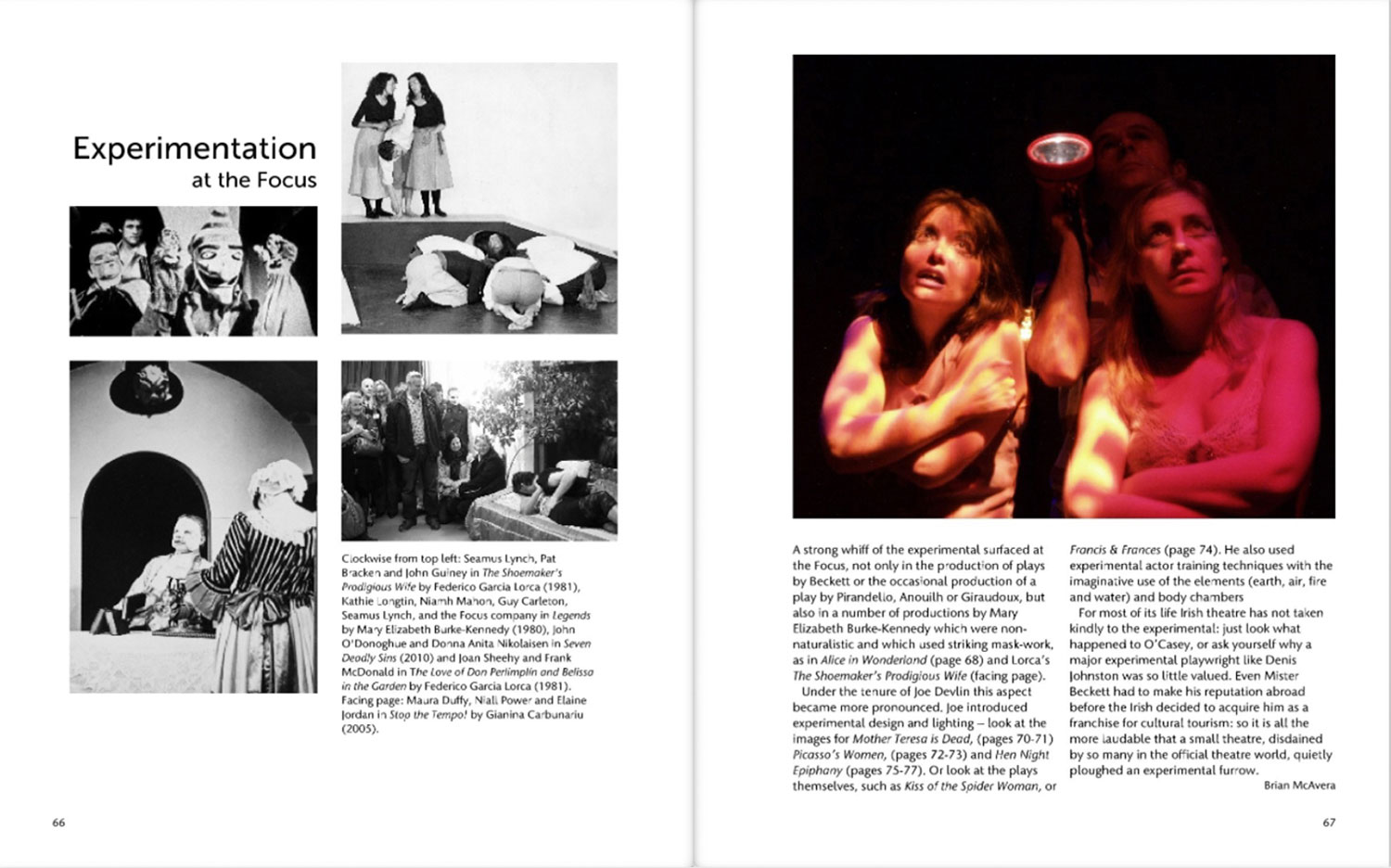 2 page layout of theatre archive book actors experimenting and looking fearful