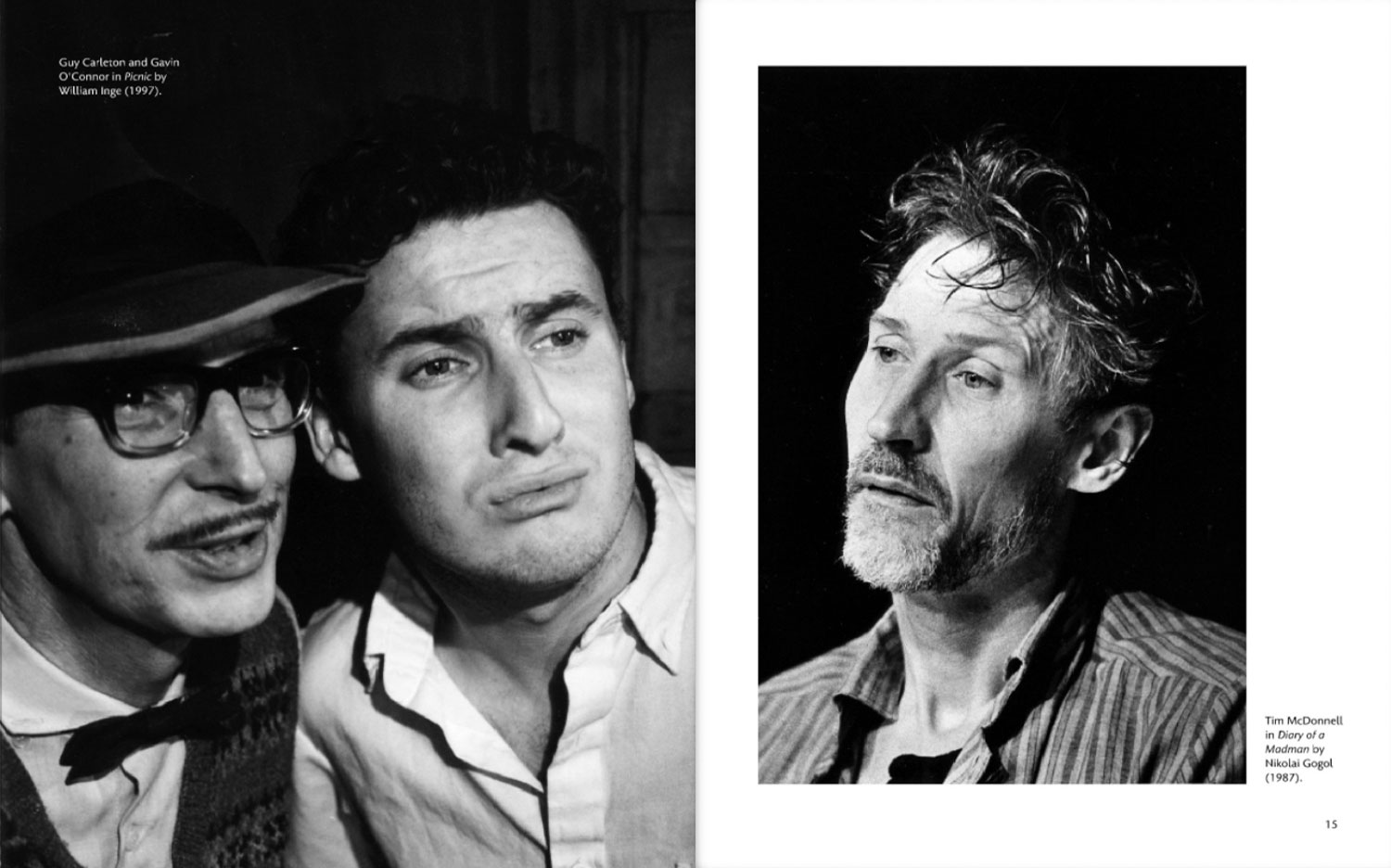 2 black and white portraits of actors in 1990s looking soulful - review