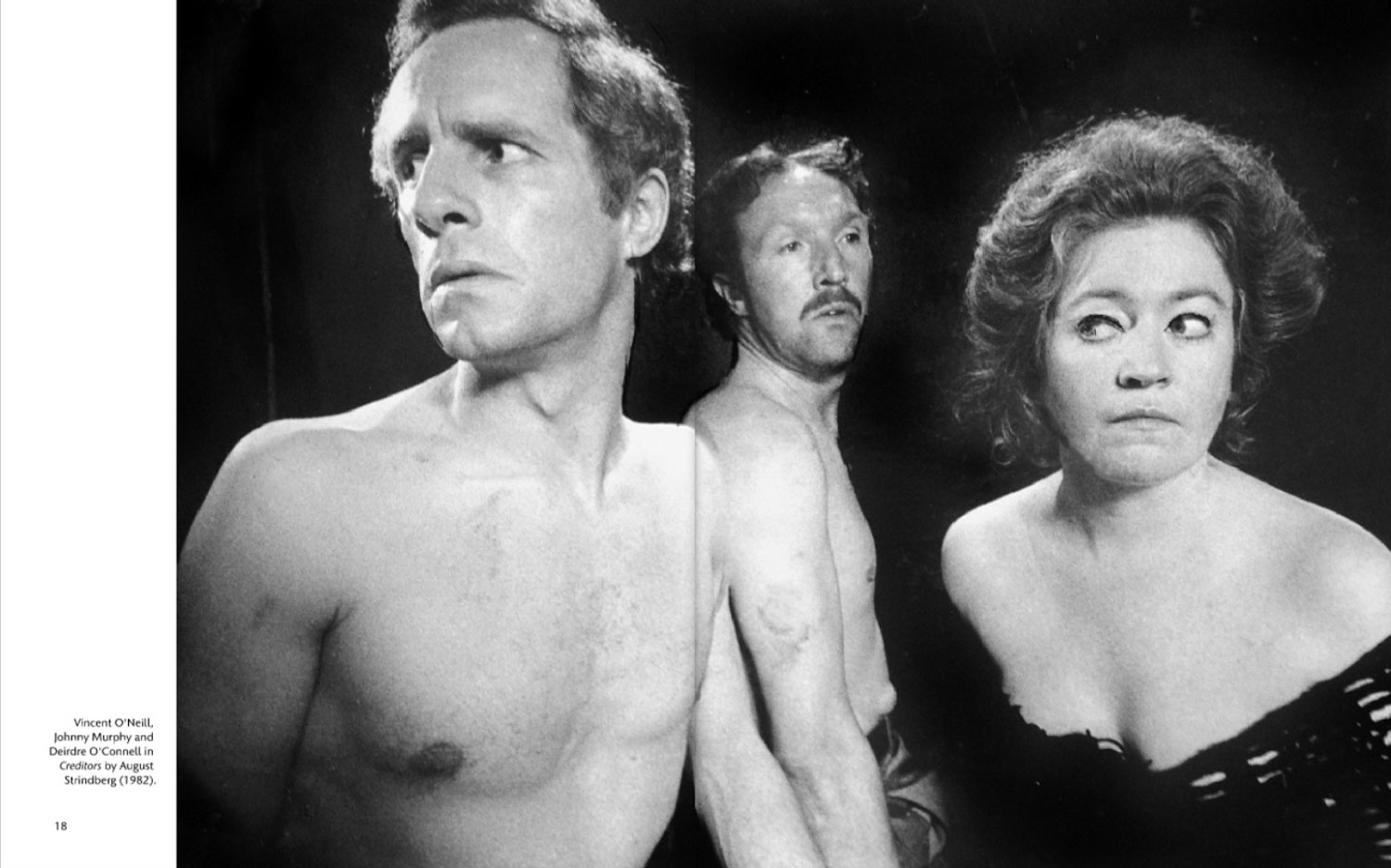 black and white portrait of 3 actors in 1970s review looking furtive
