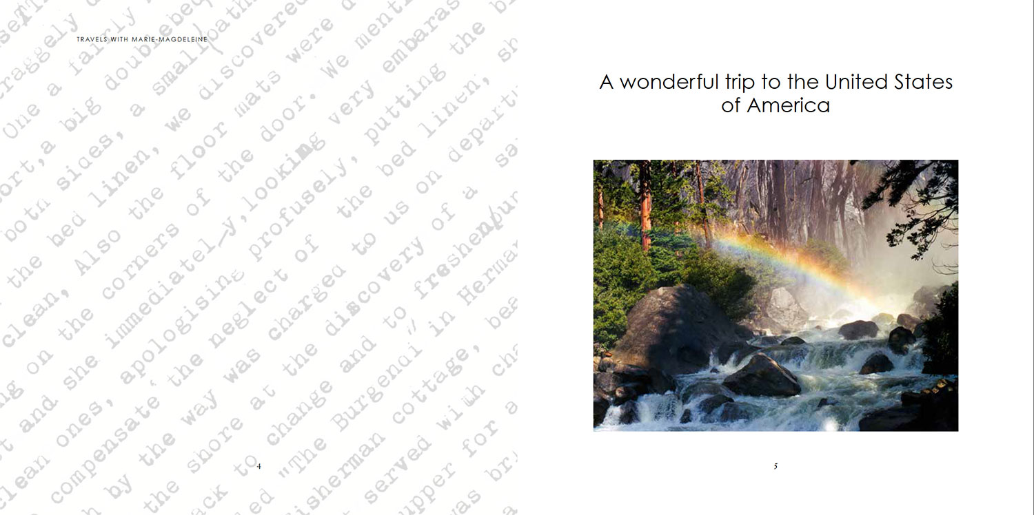 page of travel journal rainbow over waterfall