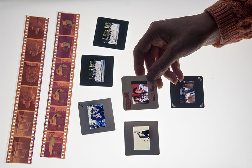 Slides and negatives on lightbox