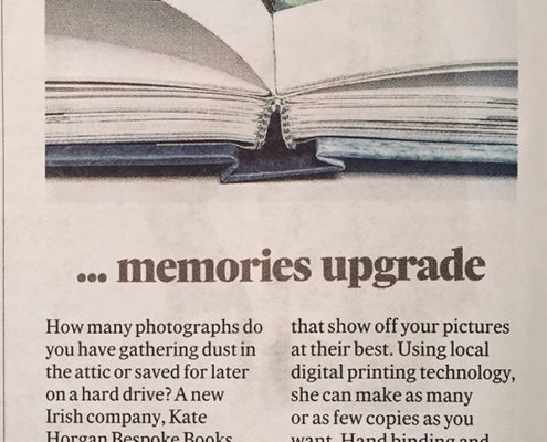 Cutting from newspaper recommending Kate Horgan Bespoke Book service from Christmas 2017