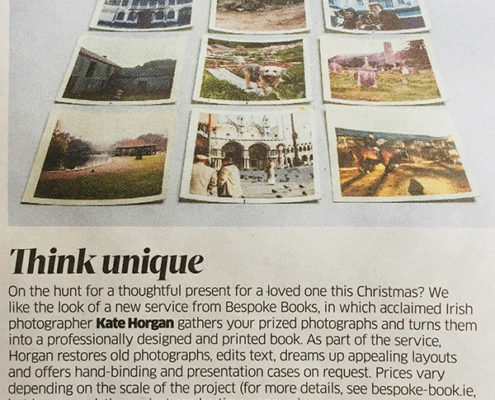 Press cutting from newspaper recommending Kate Horgan Bespoke Books from November 2017