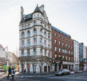 Exterior of the Lafayette building, an elaborate 19th century building on a crossroads in the centre of Dublin. Family photography.