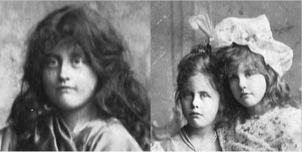 Fuzzy close-up of young boy in a wig on right, closeup of two sisters more in focus, from family photo.