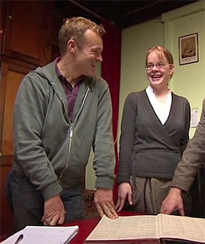 graham norton laughing with nicola looking at parish records