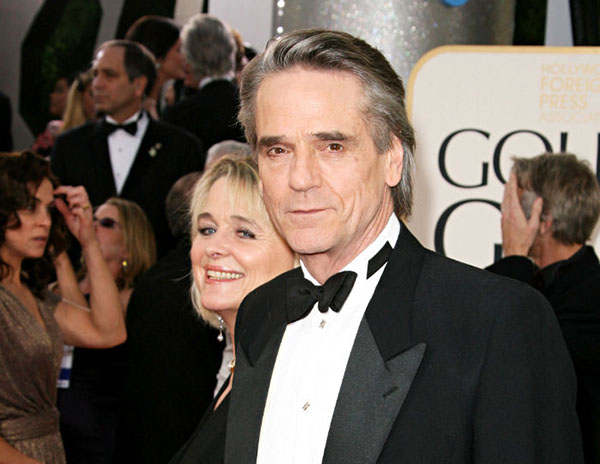 Film actor Jeremy Irons in tuxedo at gala event