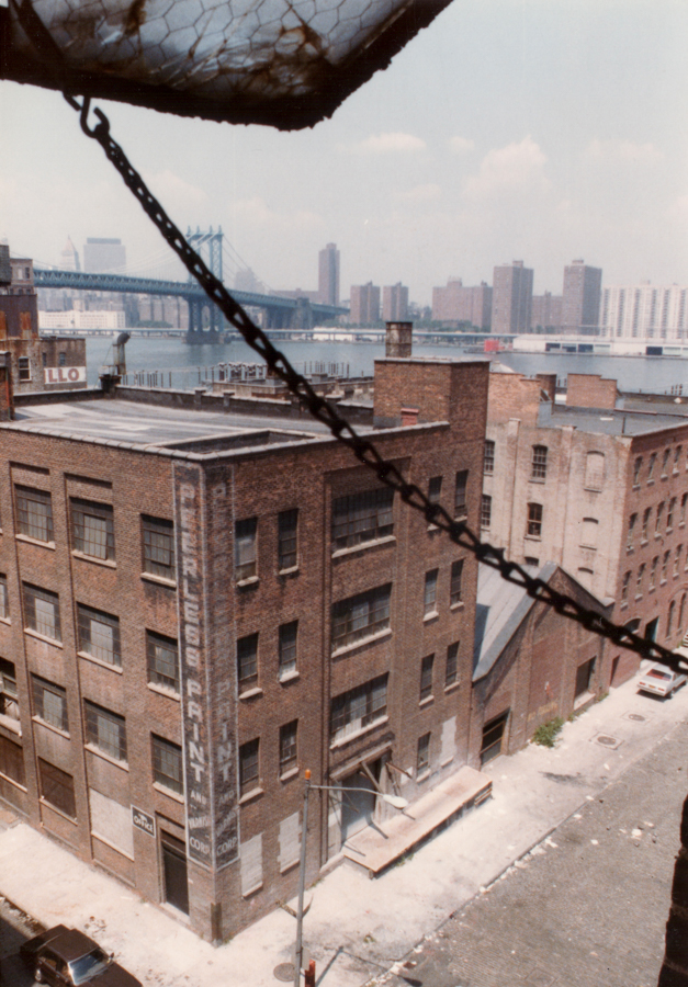 View to Manhattan from a warehouse in Dumbo district of Brooklyn, 1984