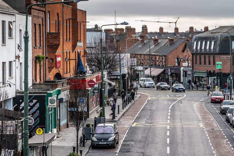 long view of Ranelagh village street